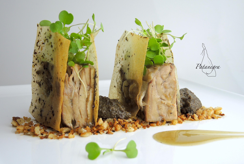 Pata Negra Iberico Pork Shoulder, Pepper Wheat, Garlic Cream, Funghi Quenelle